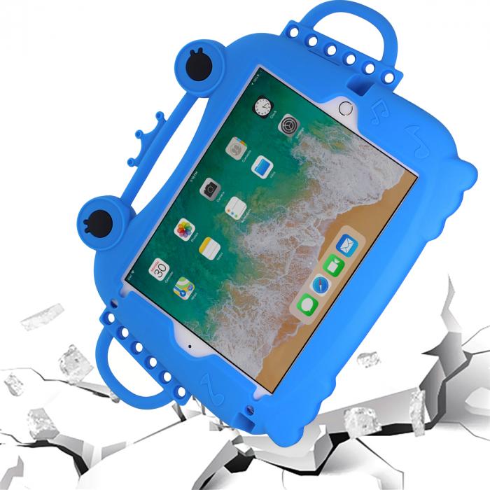 Husa protectie tableta, pentru copii, silicon, iPad Air, iPad Air 2, iPad Pro 9.7, iPad New 9.7, protectie silicon antisoc rezistenta la lovituri, acces la toate porturile, Broasca, albastru [3]