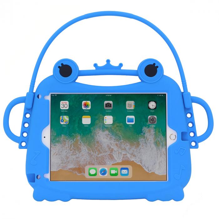 Husa protectie tableta, pentru copii, silicon, iPad Air, iPad Air 2, iPad Pro 9.7, iPad New 9.7, protectie silicon antisoc rezistenta la lovituri, acces la toate porturile, Broasca, albastru [0]