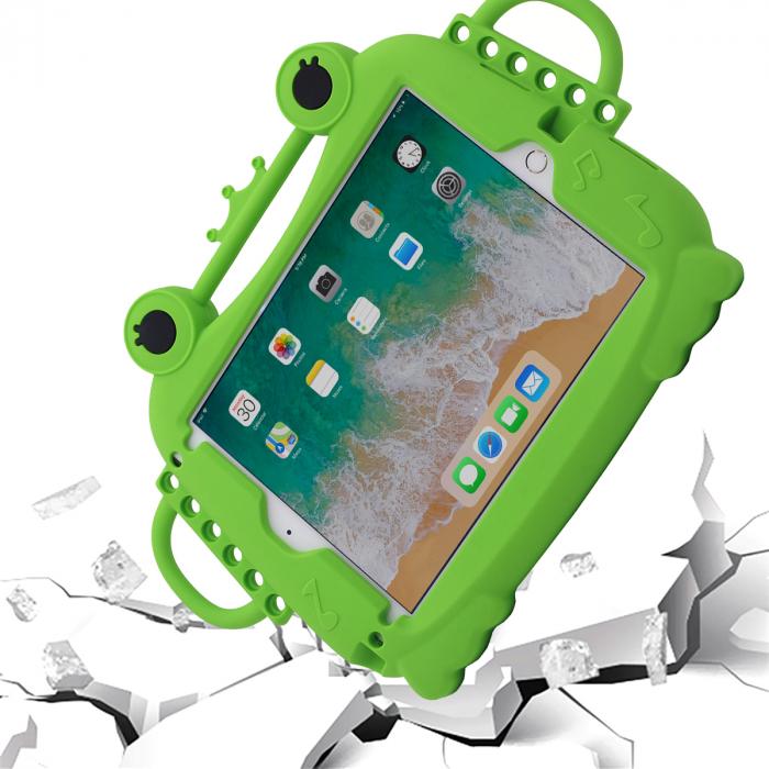 Husa protectie tableta, pentru copii, silicon, iPad Air, iPad Air 2, iPad Pro 9.7, iPad New 9.7, protectie silicon antisoc rezistenta la lovituri, acces la toate porturile, Broasca, verde [2]