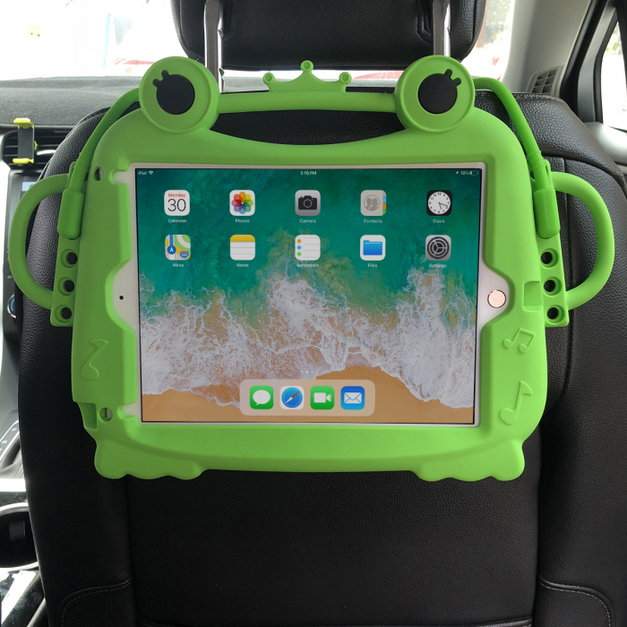Husa protectie tableta, pentru copii, silicon, iPad Air, iPad Air 2, iPad Pro 9.7, iPad New 9.7, protectie silicon antisoc rezistenta la lovituri, acces la toate porturile, Broasca, verde [3]