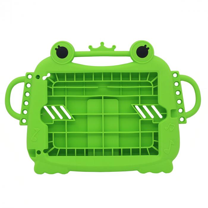 Husa protectie tableta, pentru copii, silicon, iPad Air, iPad Air 2, iPad Pro 9.7, iPad New 9.7, protectie silicon antisoc rezistenta la lovituri, acces la toate porturile, Broasca, verde [6]