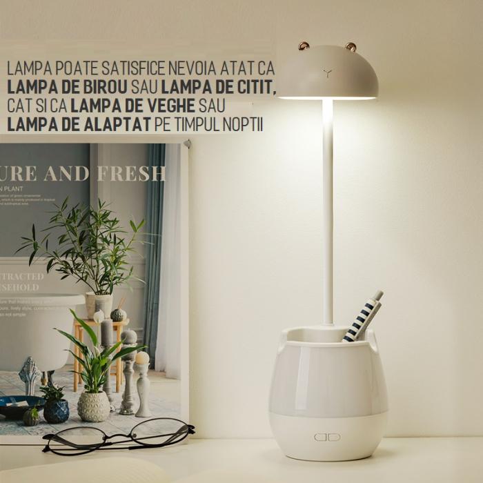 Lampa de birou cu suport pixuri reglabila Ideas4Comfort, lampa de veghe portabila, USB reincarcabila, BPA-free, Iepuras, alb [8]
