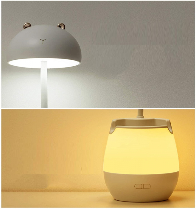Lampa de birou cu suport pixuri reglabila, lampa de veghe poratbila, USB reincarcabila, BPA-free, Ursulet, maro [6]