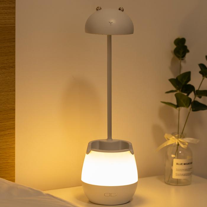 Lampa de birou cu suport pixuri reglabila, lampa de veghe poratbila, USB reincarcabila, BPA-free, Ursulet, maro [3]