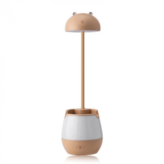 Lampa de birou cu suport pixuri reglabila, lampa de veghe poratbila, USB reincarcabila, BPA-free, Ursulet, maro [4]