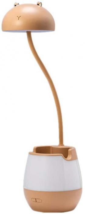 Lampa de birou cu suport pixuri reglabila, lampa de veghe poratbila, USB reincarcabila, BPA-free, Ursulet, maro [0]