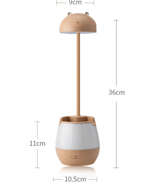 Lampa de birou cu suport pixuri reglabila, lampa de veghe poratbila, USB reincarcabila, BPA-free, Ursulet, maro [1]