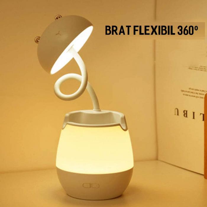 Lampa de birou cu suport pixuri reglabila, poratbila, pliabila, USB reincarcabila, BPA-free, Ursulet, alb [4]