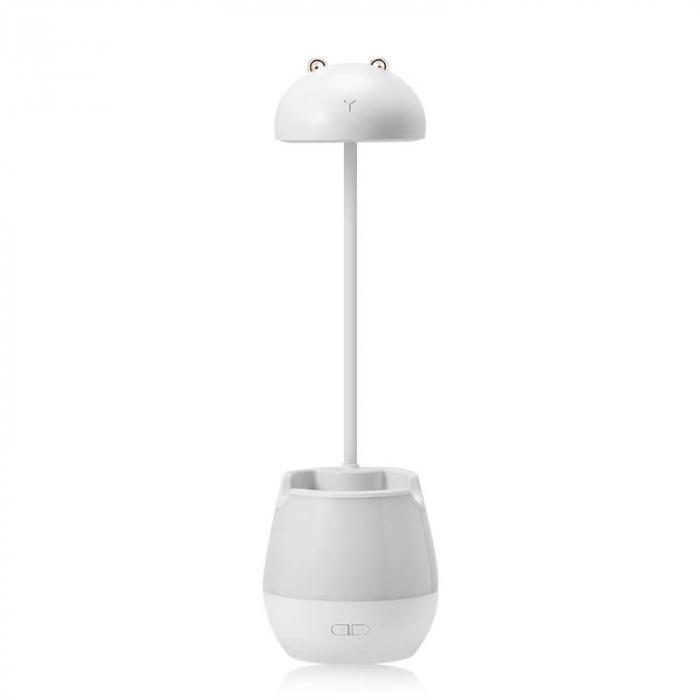 Lampa de birou cu suport pixuri reglabila, poratbila, pliabila, USB reincarcabila, BPA-free, Ursulet, alb [0]