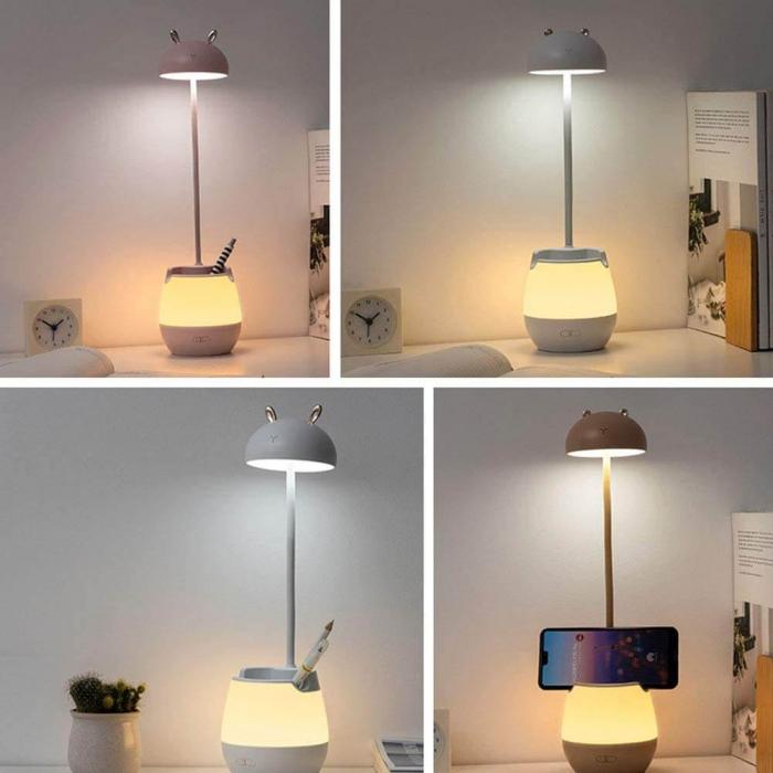 Lampa de birou cu suport pixuri reglabila, poratbila, pliabila, USB reincarcabila, BPA-free, Ursulet, alb [5]