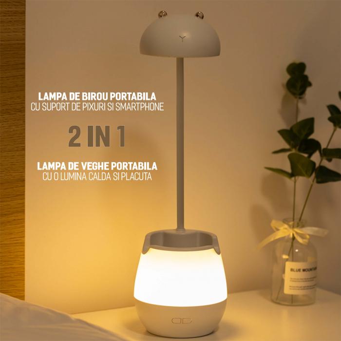 Lampa de birou cu suport pixuri reglabila, poratbila, pliabila, USB reincarcabila, BPA-free, Ursulet, alb [2]