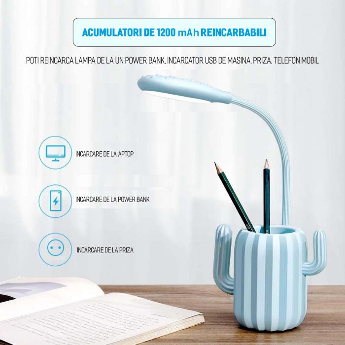 Lampa de birou pentru copii, cu suport de pixuri, LED, senzor tactil, 3 nivele de luminozitate, portabila, USB, Cactus, albastru [2]