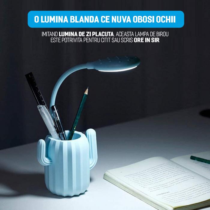 Lampa de birou pentru copii, cu suport de pixuri, LED, senzor tactil, 3 nivele de luminozitate, portabila, USB, Cactus, albastru [3]