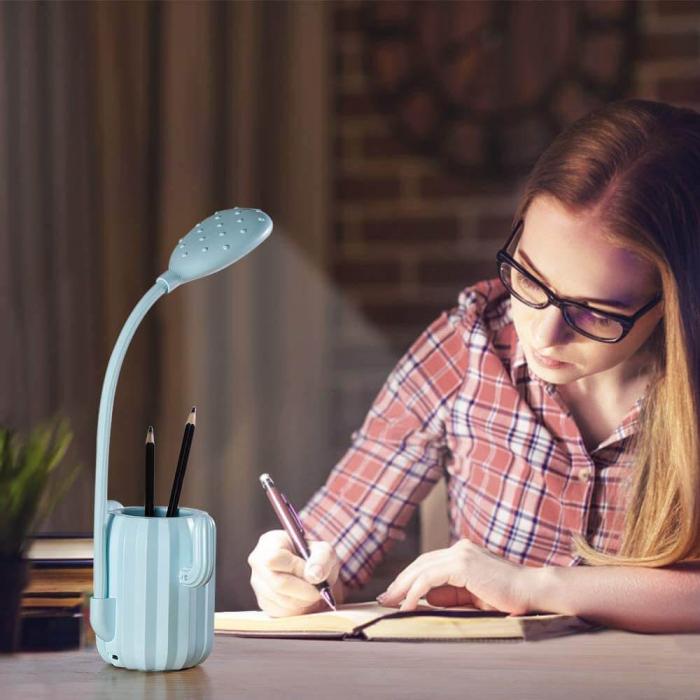 Lampa de birou pentru copii, cu suport de pixuri, LED, senzor tactil, 3 nivele de luminozitate, portabila, USB, Cactus, albastru [5]