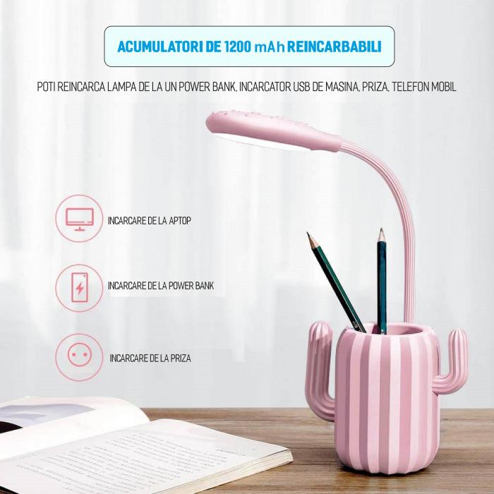 Lampa de birou pentru copii, cu suport de pixuri, LED, senzor tactil, 3 nivele de luminozitate, portabila, USB, Cactus, roz [1]