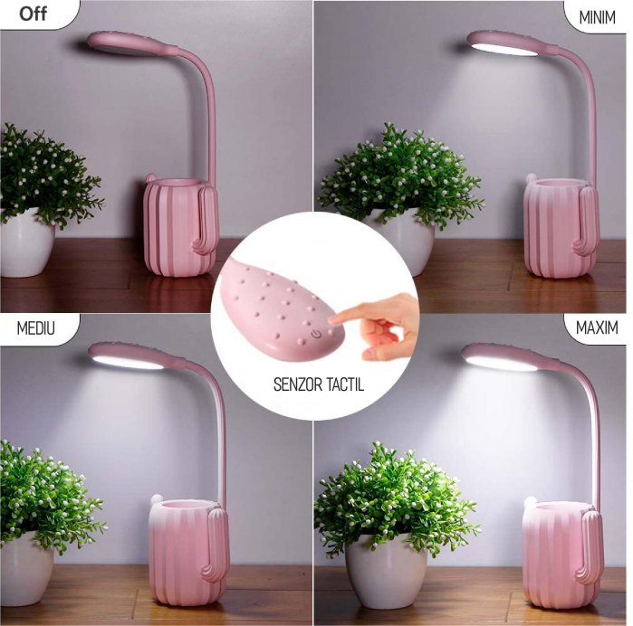 Lampa de birou pentru copii, cu suport de pixuri, LED, senzor tactil, 3 nivele de luminozitate, portabila, USB, Cactus, roz [8]