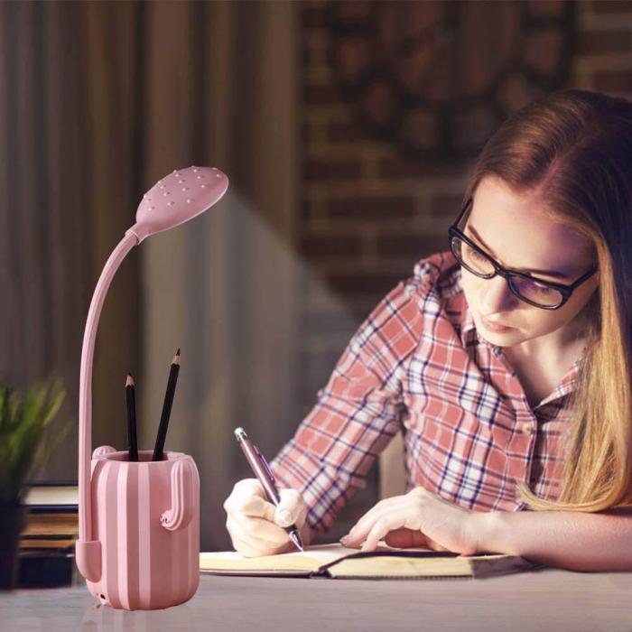Lampa de birou pentru copii, cu suport de pixuri, LED, senzor tactil, 3 nivele de luminozitate, portabila, USB, Cactus, roz [6]