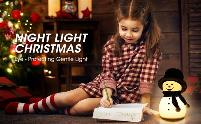 Lampa de veghe pentru copii, portabila, silicon BPA-free, 7 culori de LEDuri, reincarcabila USB, touch control, Om de Zapada cu palarie [5]