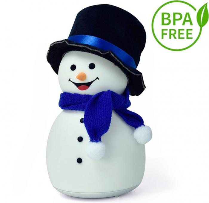Lampa de veghe pentru copii, portabila, silicon BPA-free, 7 culori de LEDuri, reincarcabila USB, touch control, Om de Zapada cu palarie [0]