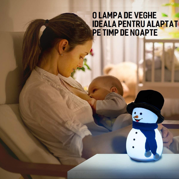 Lampa de veghe pentru copii, portabila, silicon BPA-free, 7 culori de LEDuri, reincarcabila USB, touch control, Om de Zapada cu palarie [3]