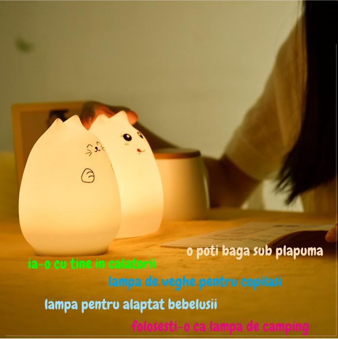 Lampa de veghe portabila cu 7 culori de LEDuri, silicon BPA-free, USB, touch-control, lampa de noapte Pisica Zambareata [4]