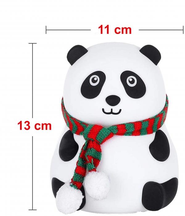 Lampa de veghe portabila cu 7 culori de LEDuri, silicon BPA-free, USB, touch-control, lampa de noapte Ursuletul Panda [1]