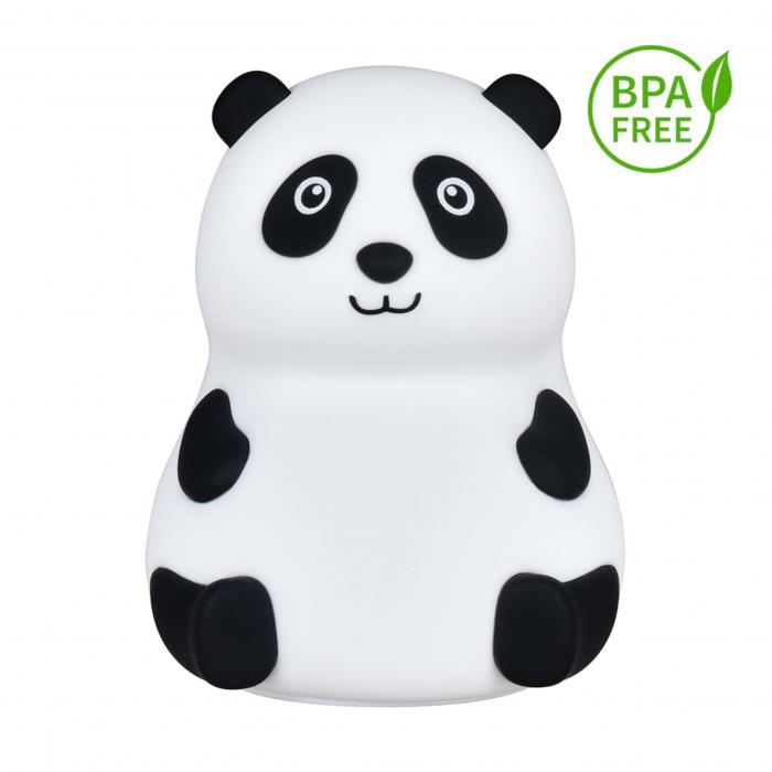 Lampa de veghe portabila cu 7 culori de LEDuri, silicon BPA-free, USB, touch-control, lampa de noapte Ursuletul Panda [0]