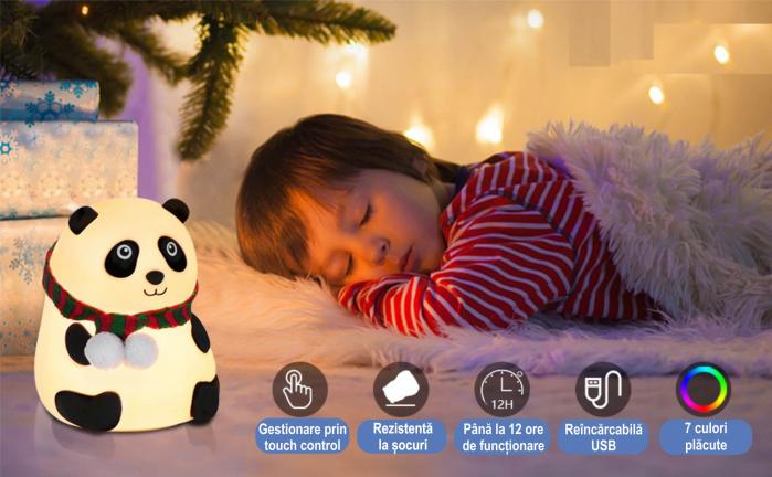 Lampa de veghe portabila cu 7 culori de LEDuri, silicon BPA-free, USB, touch-control, lampa de noapte Ursuletul Panda [6]