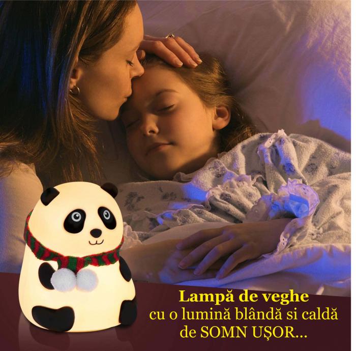 Lampa de veghe portabila cu 7 culori de LEDuri, silicon BPA-free, USB, touch-control, lampa de noapte Ursuletul Panda [5]