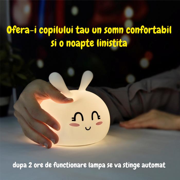 Lampa de veghe portabila cu 7 culori de LEDuri, silicon BPA-free, USB, touch-control, lampa de noapte Iepurasul Vesel [1]
