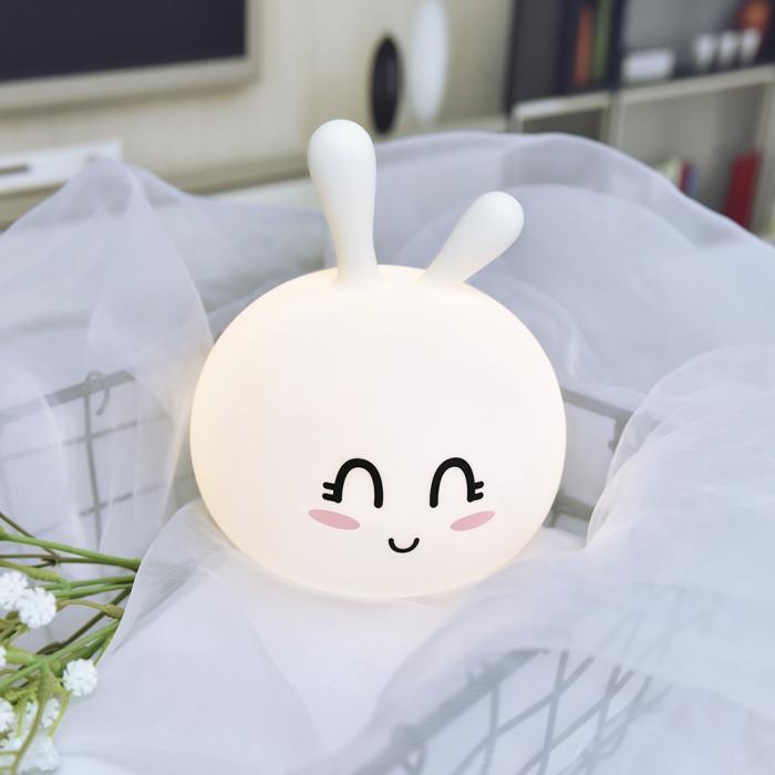 Lampa de veghe portabila cu 7 culori de LEDuri, silicon BPA-free, USB, touch-control, lampa de noapte Iepurasul Vesel [3]