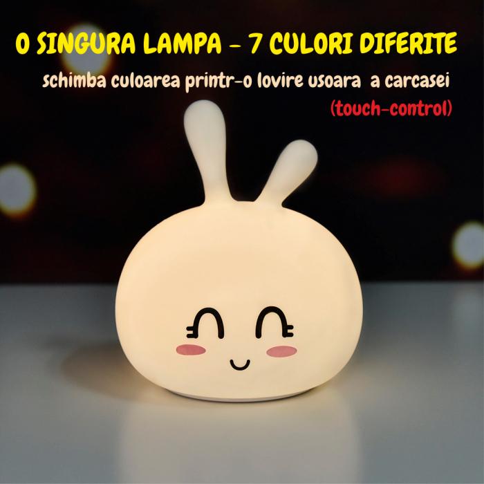 Lampa de veghe portabila cu 7 culori de LEDuri, silicon BPA-free, USB, touch-control, lampa de noapte Iepurasul Vesel [5]