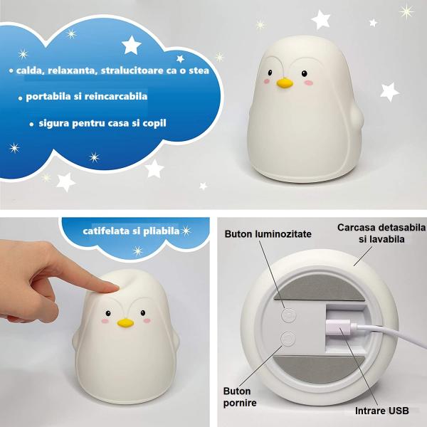 Lampa de veghe portabila Pinguin, LED 3 culori, incarcare USB, reglabila. [1]