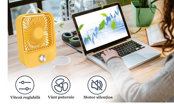 Ventilator portabil pentru birou, 2.6 W, acumulator 2400 mAh, incarcare 3 ore, autonomie pana la 7 ore, reincarcabil USB, galben [4]