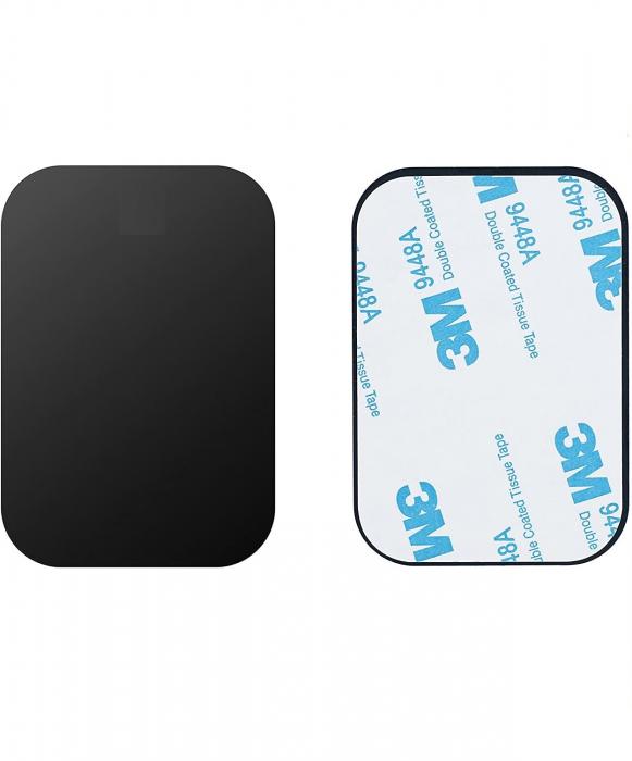 Set 2 placute metalice pentru suport magnetic de telefon, adeziv 3M, dimensiunea 4.5 x 6.5 cm, negru [0]