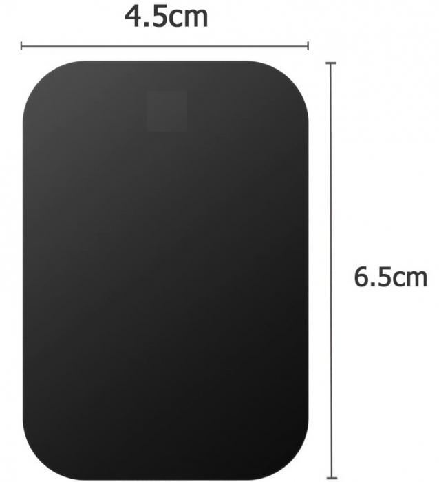 Set 2 placute metalice pentru suport magnetic de telefon, adeziv 3M, dimensiunea 4.5 x 6.5 cm, negru [1]