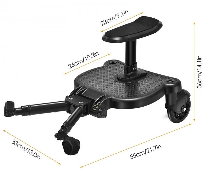 Adaptor de carucior pentru al doilea copil, remorca carucior, platforma buggy board cu scaun demontabil, 2 roti, capacitate 25 kg, universal, negru [2]