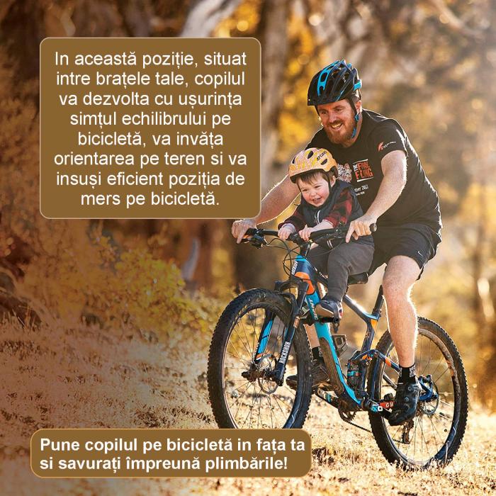 Scaun copil pentru bicicleta cu montaj pe cadru, 2-7 ani, capacitate 32 kg, cu suport pentru picioare, cu ghidon auxiliar pentru copil, negru [2]