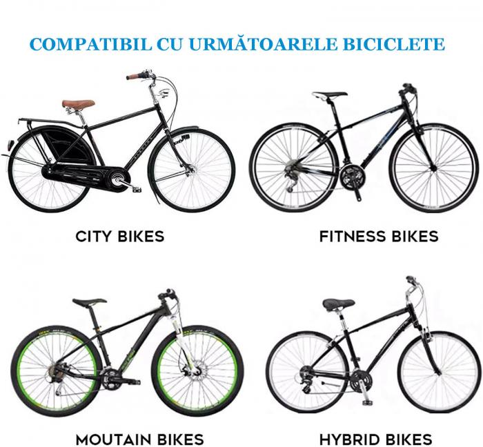 Scaun copil pentru bicicleta cu montaj pe cadru, 2-7 ani, capacitate 32 kg, cu suport pentru picioare, cu ghidon auxiliar pentru copil, negru [7]