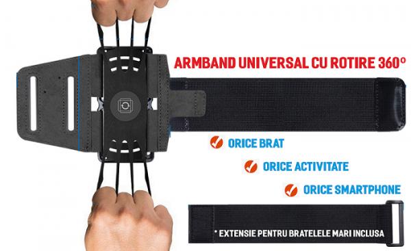Set 2 unitati Husa Banderola pentru brat / mana cu 360° rotire si cu acces usor la ecran, pentru alergat, sala, bicicleta, drumetii, Negru [3]