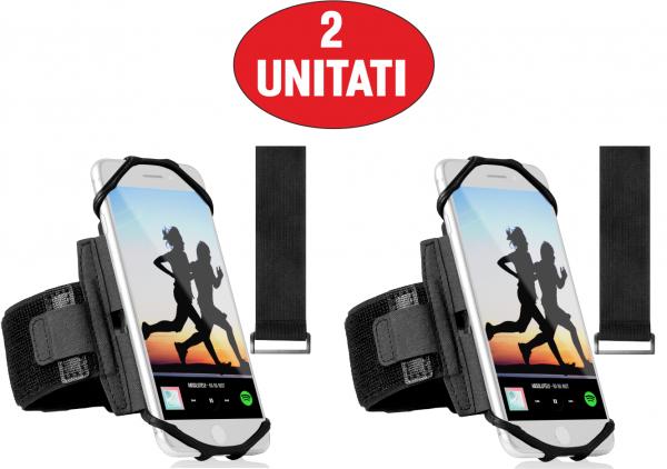 Set 2 unitati Husa Banderola pentru brat / mana cu 360° rotire si cu acces usor la ecran, pentru alergat, sala, bicicleta, drumetii, Negru [0]