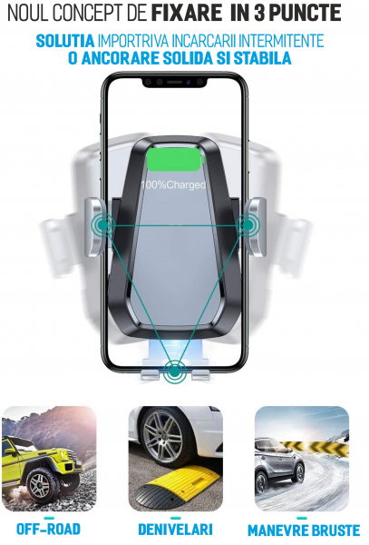 Suport de telefon cu incarcare wireless pentru grila de ventilatie, UNIVERSAL [2]
