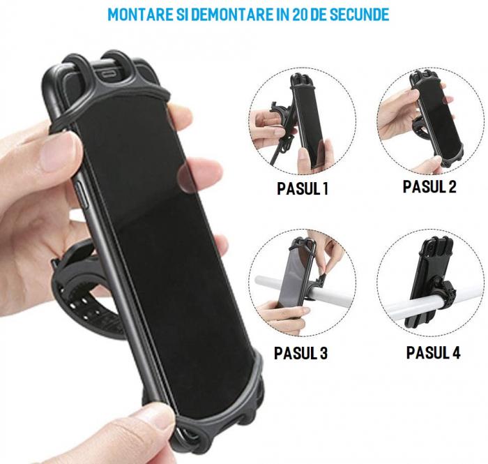 Suport telefon universal pentru bicicleta, din silicon, rotativ 360⁰, montaj pe ghidon, compatibil bicicleta, carut, trotineta, scuter, negru [5]