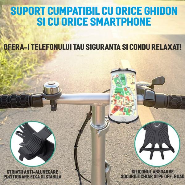 Suport telefon universal pentru bicicleta, din silicon, rotativ 360⁰, montaj pe ghidon, compatibil bicicleta, carut, trotineta, scuter, negru [6]