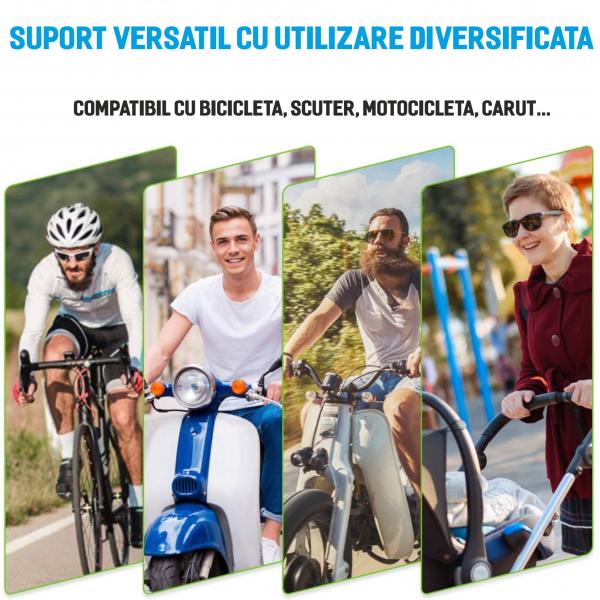 Suport telefon universal pentru bicicleta, din silicon, rotativ 360⁰, montaj pe ghidon, compatibil bicicleta, carut, trotineta, scuter, negru [8]
