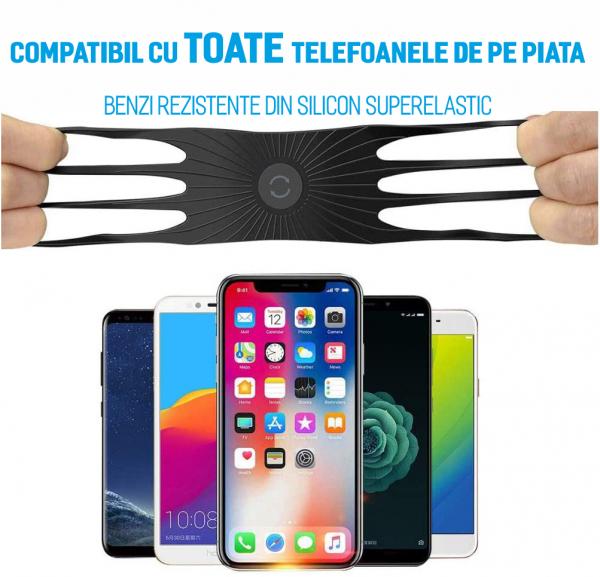 Suport telefon universal pentru bicicleta, din silicon, rotativ 360⁰, montaj pe ghidon, compatibil bicicleta, carut, trotineta, scuter, negru [3]