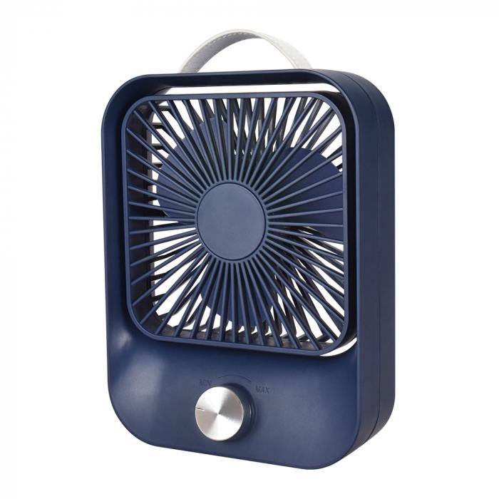 Ventilator portabil pentru birou, 2.6 W, acumulator 2400 mAh, incarcare 3 ore, autonomie pana la 7 ore, reincarcabil USB, albastru [0]