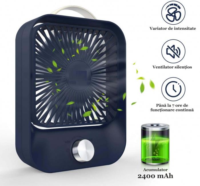 Ventilator portabil pentru birou, 2.6 W, acumulator 2400 mAh, incarcare 3 ore, autonomie pana la 7 ore, reincarcabil USB, albastru [11]