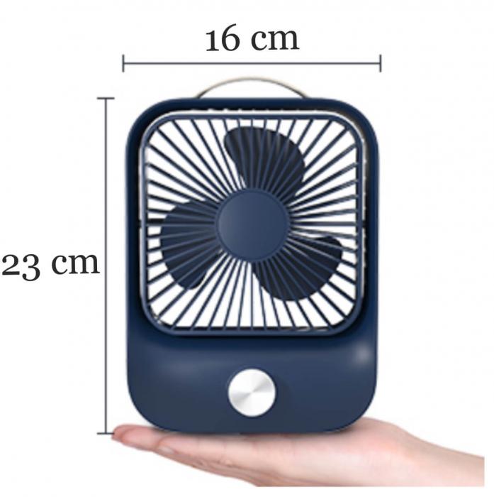 Ventilator portabil pentru birou, 2.6 W, acumulator 2400 mAh, incarcare 3 ore, autonomie pana la 7 ore, reincarcabil USB, albastru [1]