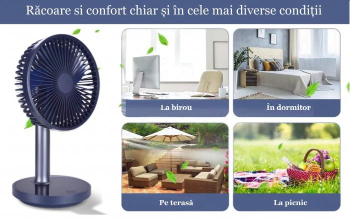 Ventilator portabil pentru birou, 5 W, acumulator 2000 mAh, brat extensibil, reincarcabil USB, albastru [8]